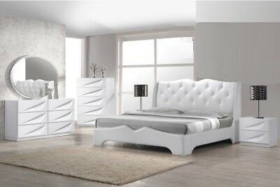 4pc Master Bedroom Furniture Eastern King Size Bed Off-White ...