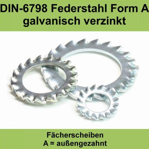 23,0 DIN 6798 verzinkte Fächerscheiben außengezahnte Federstahl A verzahnte M22