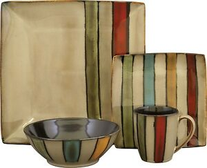 Stoneware Dinnerware Set Service For 4 Kitchen Dining 16