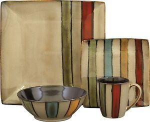 Stoneware Dinnerware Set Service For 4 Kitchen Dining 16