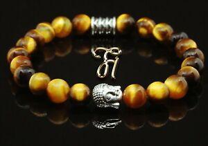 Tigerauge-braun-glaenzend-Armband-Bracelet-Perlenarmband-Buddhakopf-silber-8mm