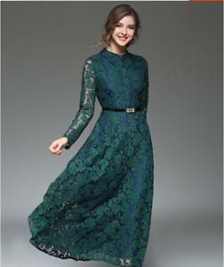 separation shoes 9f371 139b5 Dettagli su Elegante raffinato abito vestito lungo scampanato manica pizzo  verde nero 4094