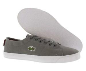 8ce115479 Lacoste Marcel WD SPJ Dark Grey Red Junior Canvas Trainers Size UK ...