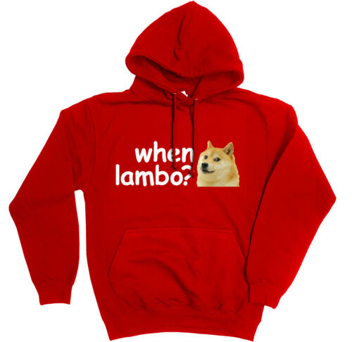 Hoodie 6 colours Funny DOGE Dogecoin Crypto Meme Bitcoin When Lambo