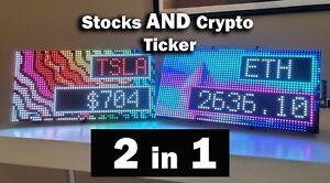 Crypto Ticker and Stocks Ticker - Bitcoin Live prices 24/7 Illuminated LED