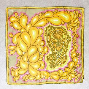 Vintage-Vera-Neumann-Yellow-Pink-Turkish-Paisley-Silk-Scarf-Square-22-X-22