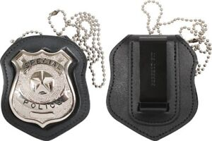 Cut-Out-amp-Clip-On-Leather-Special-Police-Shield-Law-Enforcement-Badge-Holder