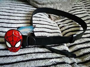 Kids-Marvel-leather-Spiderman-belt-boys-girls-Face-Metal-Trouser-Buckle-4-8-Yrs