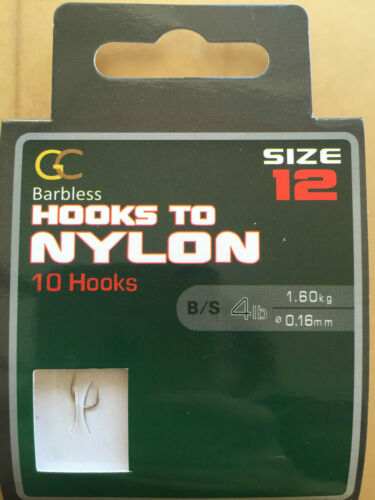 GC GREAT BARBLESS HOOKS to Nylon  Coarse Carp match Fishing Size 12-B//S 4lb