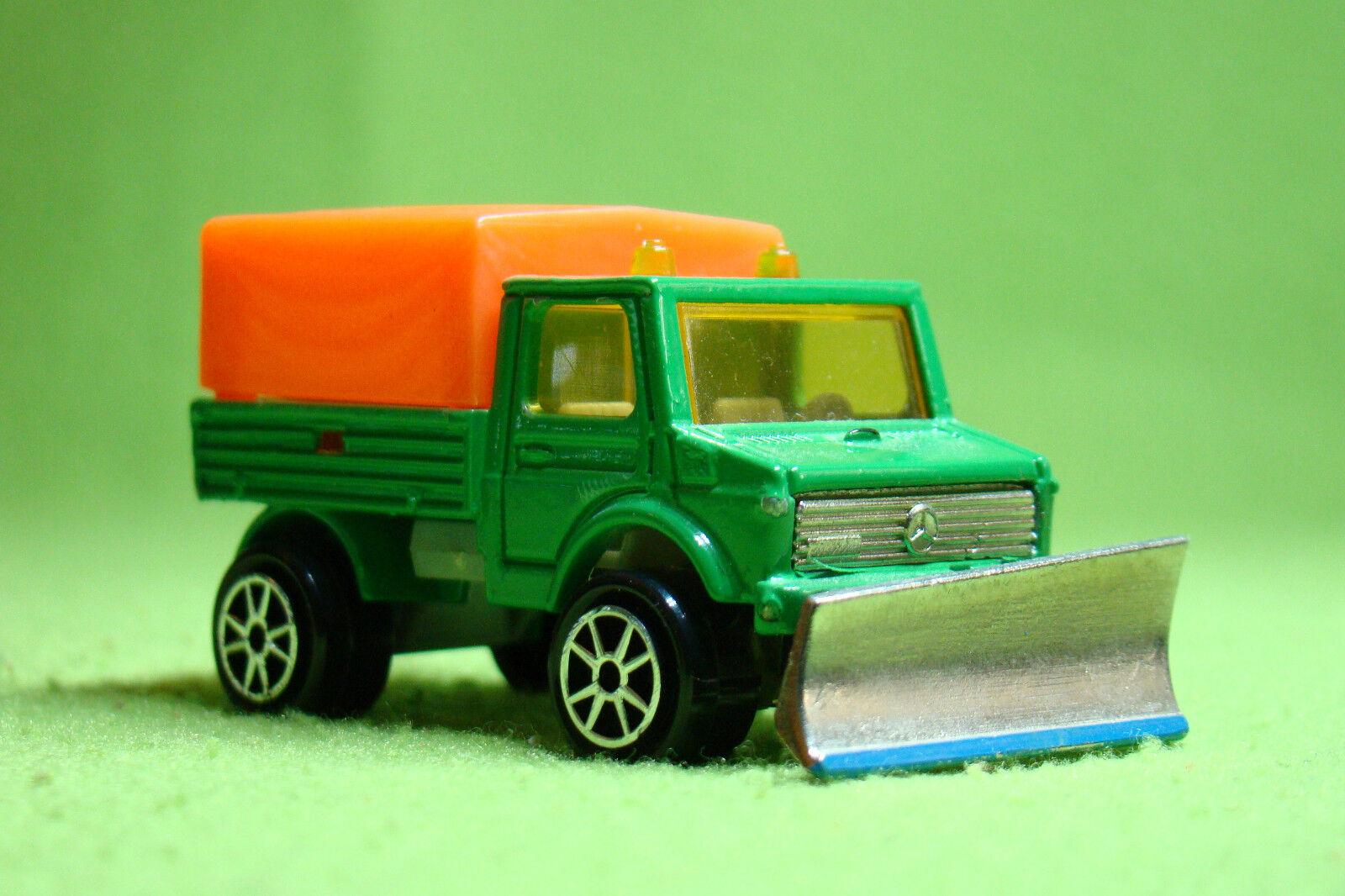 Maqueta de coche-Majorette 224 Unimog-transportador con pala pala pala para nieve-en su embalaje original 8866b8
