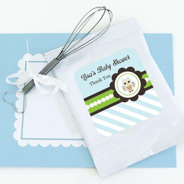 48 Personalized Blau Owl Theme Lemonade Mix Pouches Baby Shower Favors