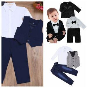 7d9f15ca0392 Baby Boys Gentleman Dress Suit Vest Shirt Pants Coat Set Kids ...