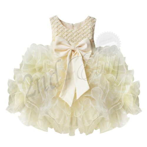 US Flower Girl Bow Tutu Dress Toddler Baby Princess Party Wedding Tulle Gown