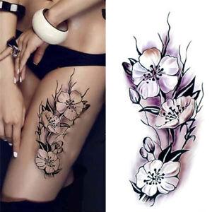 Details About Unisex Temporäre Tattoos Körper Aufkleber Tattoo Papier Black Rose Fake Tattoo