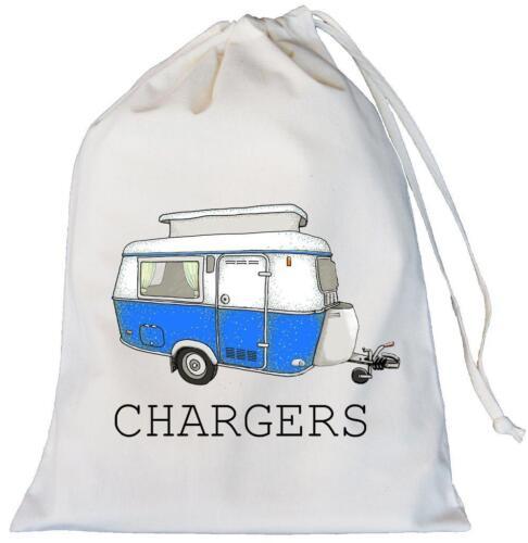 Cotton Drawstring Leads cables Retro Pop Top Caravan Chargers Storage Bag