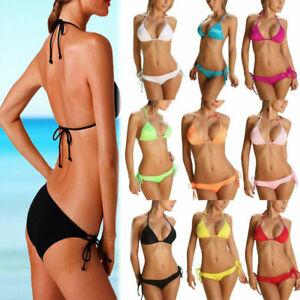 sexy Bikini schwarz rot weiß 2 teilig 34 36 38 BH Höschen Sommer Sonne Meer