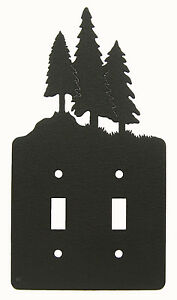 Tree-Trees-Double-Switch-Cover-Plate-Black