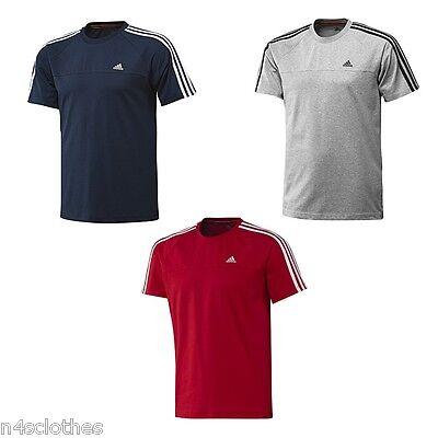 ADIDAS Essentials pour Homme 3 Stripe Crew Tee T shirt Sport Bleu Marine Gris Rouge XS S XL 2XL   eBay