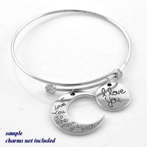 """Silver Tone with Crystal 7.75/"""" Adjustable Rigid Wire Bangle Bracelet for Charms"""