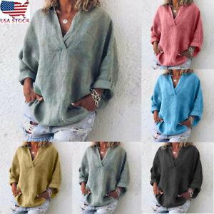 Women-Trendy-Plus-Size-Pure-Color-Loose-Linen-V-Neck-Blouse-Plain-T-Shirt-Top-US