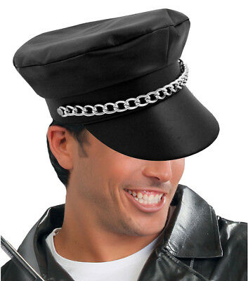 Gay Village Biker Hat Cap Black PVC Leather Look YMCA 80s Adult Fancy Dress NEW