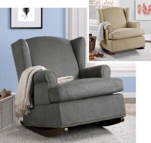 Charmant Image Is Loading Beige Or Gray Wingback Rocker Rocking Chair Nursery