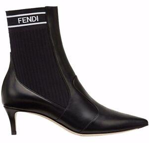 743ecdde9580 Fendi Rockoko Black Scuba Stretch FF Logo Knit Sock Ankle Kitten ...