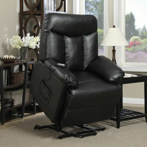 Electric Lift Chair Recliner Black Renu Leather Motion Medical Lounge Seat Ebay