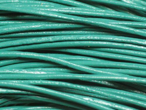 Cordon Cuir Véritable Vert Paon Turquoise 2mm   4558550018489 5 mètres