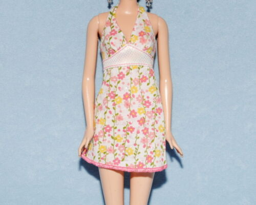 White Summer Halter Top Dress w// Peach Pink Yellow Green Flowers Genuine BARBIE