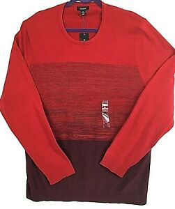 ALFANI Mens Sweater Pullover XL Red Color Block Long Sleeve Cotton NEW #704