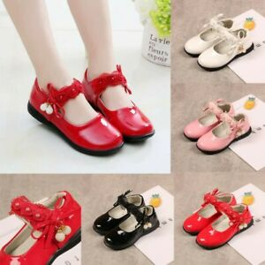 Children-Infant-Kids-Baby-Girls-Pearl-Lace-Flower-Dance-Single-Princess-Shoes-US
