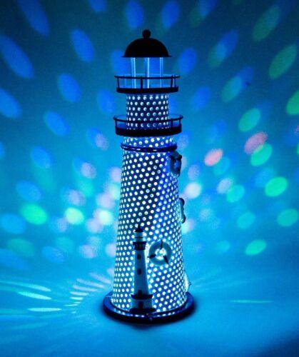 Ornament Nautical LED Color Changing Metal Vintage Lighthouse Home Desktop Decor