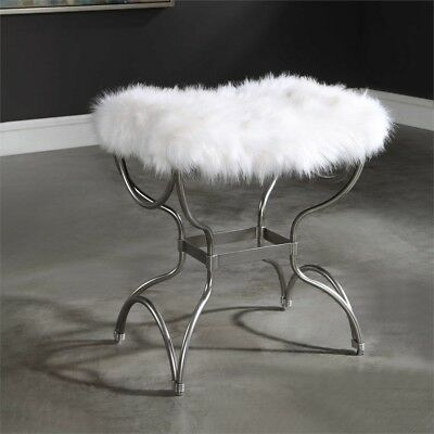Fantastic Metallic Silver Iron Soft White Faux Fur Stool Bench Seat Hollywood Regency Squirreltailoven Fun Painted Chair Ideas Images Squirreltailovenorg