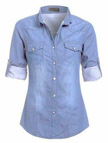 Womens Casual Denim Medium Wash Jean Button Up Classic Collar Fitted Shirt Top