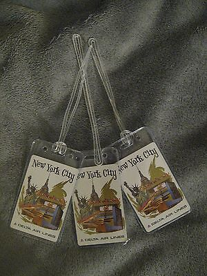 Delta Airlines New York City DL Vintage Playing Card Luggage Name Tag Tags (3)