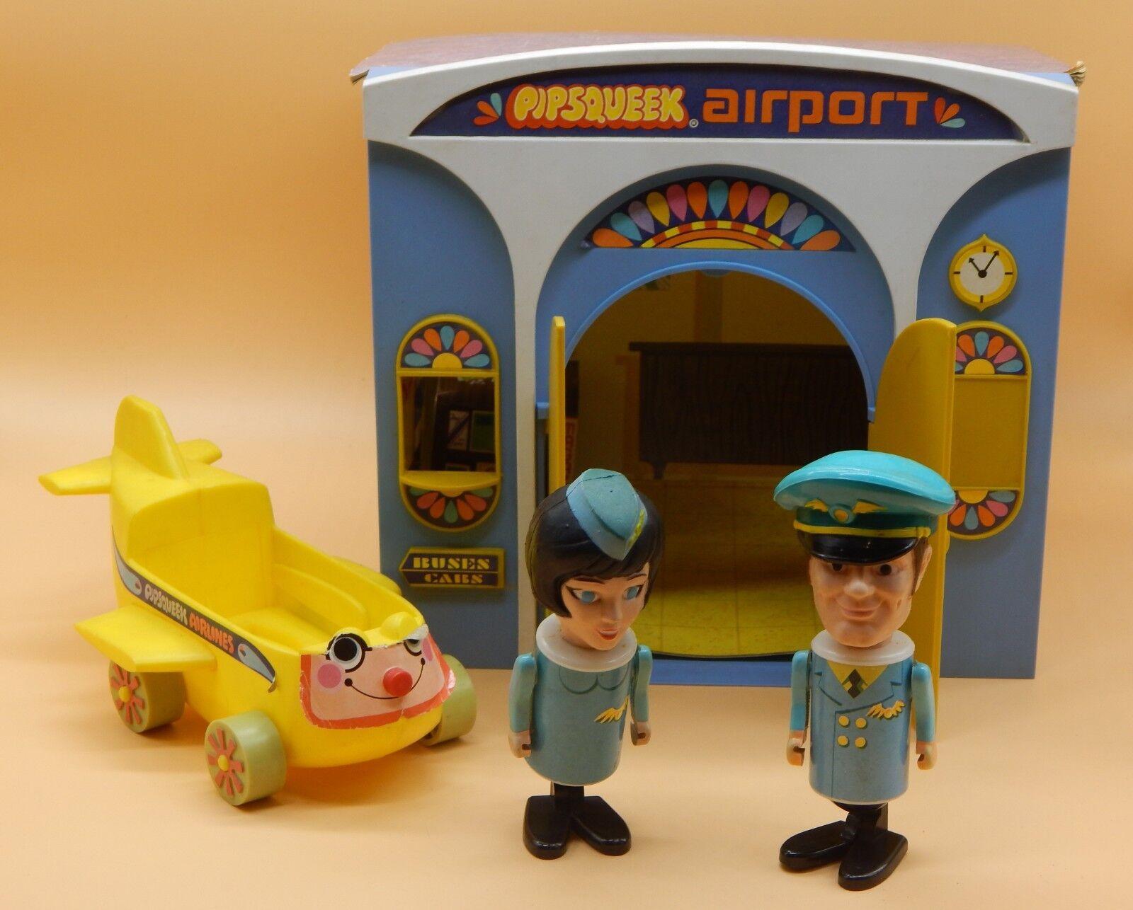 1970 vintage eldon spielzeug pipsqueeks flughafen playset pilot stewardess flugzeug selten