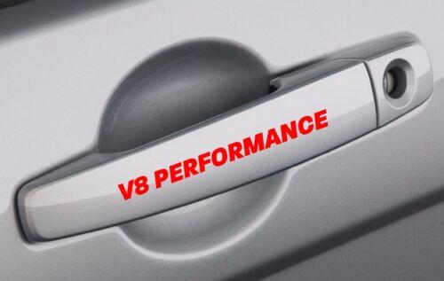 V8 PERFORMANCE Handle Decal Sticker Emblem Track Racing Logo Motorsport Red