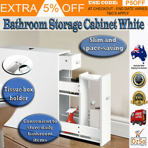 Details about New Toilet Storage Rack Bathroom Towel Organizer Slim Cabinet  White Glitzhome
