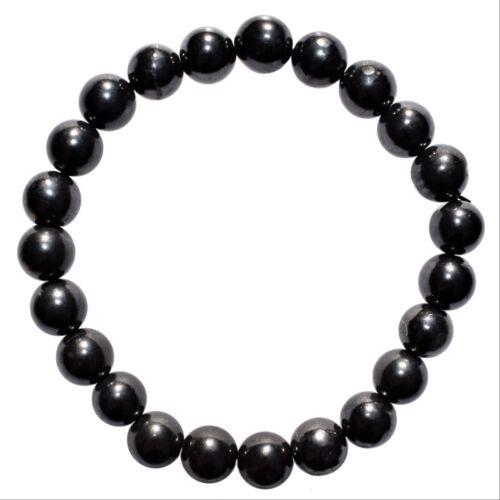 CHARGED Polished Russian Shungite Bracelet Stretchy ENERGY REIKI SYN 12
