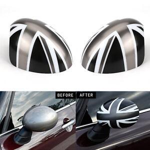 2x Chrome Door Wing Mirror Glass Cap Cover Plastic For BMW Mini Cooper