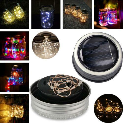 Solar Laterne Einmachglas Jar Lichterkette Solar Außen 20 LED Solar Mason Licht