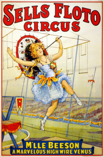 Vintage Circus POSTER.High Wire Girl.Room art Decor.675