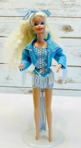 "MATTEL BARBIE Doll Long Blonde Hair Blue Eyes Three Piece Outfit 12"" Tall Used"