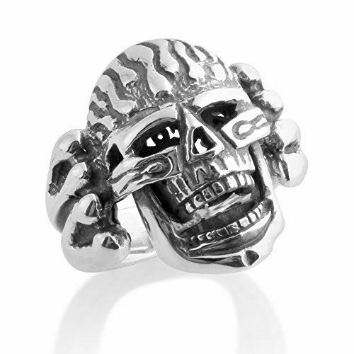 Details about  /Azaggi 925 Sterling Silver Ring Large Skull Flames Motorcycle Jaw Men/'s Jewelry