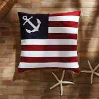 American Flag Pillow : Applique Anchor Red Navy Ahoy Nautical Sailing Beach