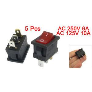 5-Stueck-Rot-Licht-beleuchtet-EIN-AUS-2-Position-SPST-Boot-Wippschalter-3-Pin