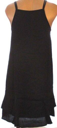New Mossimo spaghetti strap ruffled drop waist lined shift sun dress Black green