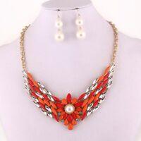 Coral Orange Stones Clear Rhinestone Center Flower Necklace Set Fashion Jewelry