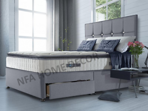 Fabric Divan Bed With Storage Headboard Single Double Kingsize Bed